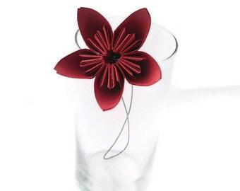 Rockin Red Color Kusudama Origami Paper Flower with Stem