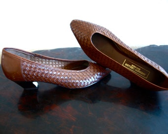 Vintage ANDREW GELLER BOUTIQUE Brown Woven Leather Shoes 7N