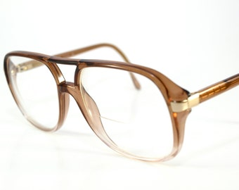 Vintage LUXOTTICA Stanley Taupe Eyeglasses Made in ITALY