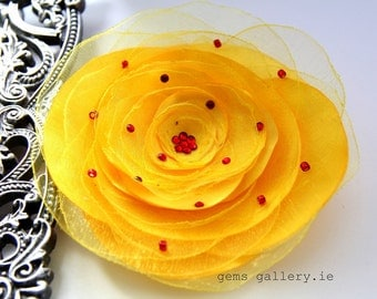 Yellow Flower Organza and Satin Brooch