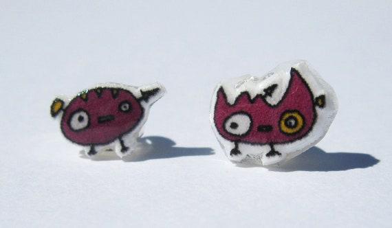 Purple Monster Earrings  - Posts -  Shrinky Dink - Shrink Plastic