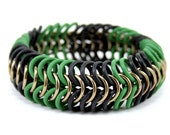 Camouflage Military Stretch Bracelet - Camo Hunting Green Black Brown Wide Metal Rubber Chainmail Cuff  Bracelet for Men Women