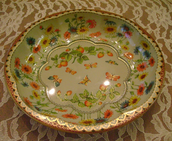 Made in England Daher Decorated Ware Colorfully Decorated Metalware With Butterflies, Flowers and Strawberries