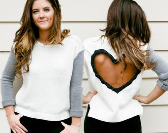 Heart Cut out Sweater in TAN with BLACK sleeves