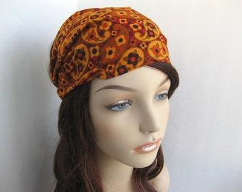 Womens Headband Hippie Headband Gypsy Bandana Earthy Colors Paisley Bohemian Boho Head Wrap Michael Miller Fabric Womens Gift for Her