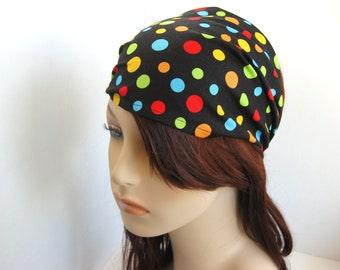Rainbow Polka Dot Headband Womens Headband Black Headband Wide Head Wrap Black Bandana Hair Accessories Womens Gift for Her Gift Ideas