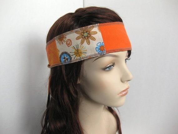 Hair Wrap Upcycled Patchwork Gypsy Hippie Headband Bandana Tie Reversible Orange Blue by flowercitythreads Black Friday Cyber Monday