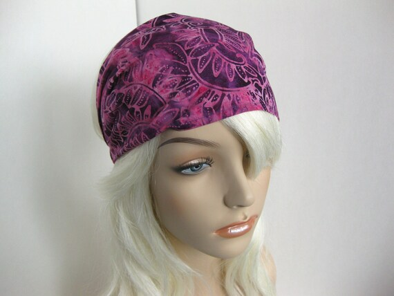 Batik Fabric Headband Gypsy Wrap Women's Summer Elastic Bandana Pink and Purple Vine Leaf Design