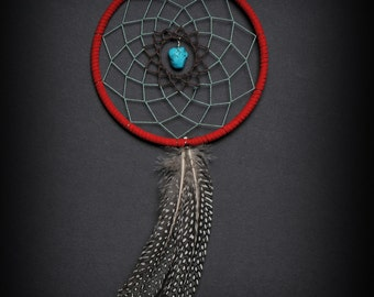 Turquoise, Brown, and Red Two Feather Small Dream Catcher