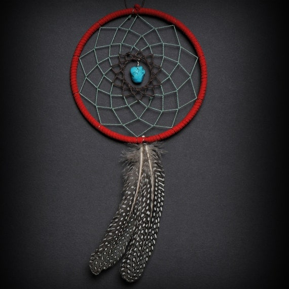 Turquoise, Black, and Red Two Feather Small Dream Catcher, Red Dreamcatcher, Turquoise Dreamcatcher, Great gift with fast shipping!