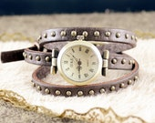Leather Watch & Bracelet ,Brown leather ,Vintage,Classical,3xwrap WN39-3