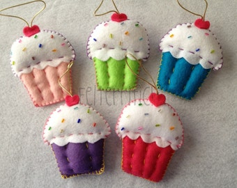 Set of 6 Handmade Felt Cupcake Ornaments/Party Favors