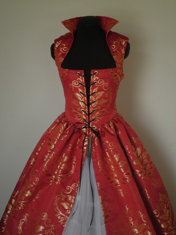 Wine-Red and Gold Renaissance Over Gown Dress 34 bust by desree10