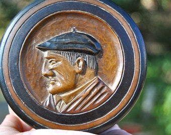Sale on Amazing Antique French Hand-carved Wooden Round Alpine Box with Man in French Beret