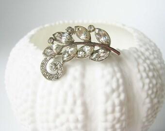 Vintage Rhinestone Leaf Sprig Pin