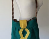 Burlap Boho Bag with Vintage Paisley Lining and Upcyced Belt Strap