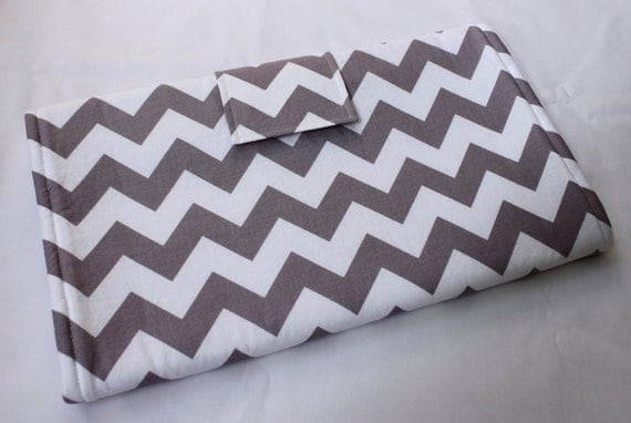 Portable Changing Pad - Riley Blake Chevron in Gray with White Minky