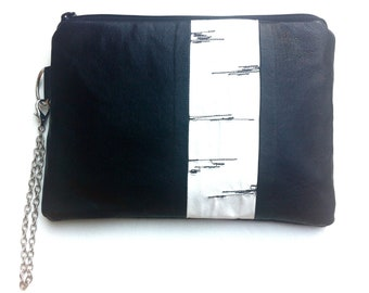 Birch Bark Recycled Leather and reclaimed fabric Wristlet, Clutch, Pouch, Purse, Make Up Bag