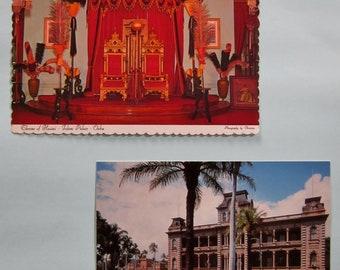 Vintage Hawaii Post Cards Throne of Hawaii - Idlani Palace Honolulu