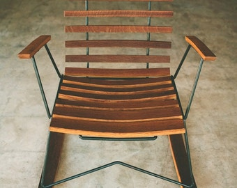 Cask Rocker, handcrafted rocking chair, rustic modern
