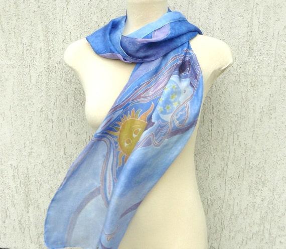 Hand painted silk scarf, dolphin, iris, bleu de france