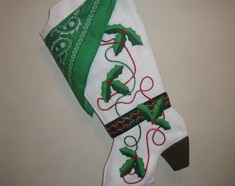 Handmade white felt cowboy boot, Christmas stocking wth bright green bandana
