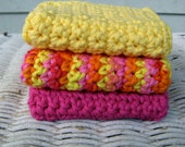 Hand Crochet Cotton Washcloths in Fruit Colors -  Lemon , Raspberry  and Variegated Fruit Punch  - Set of Three