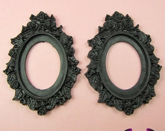 2 pcs 30x40mm Flower Resin Cameo Setting in Black