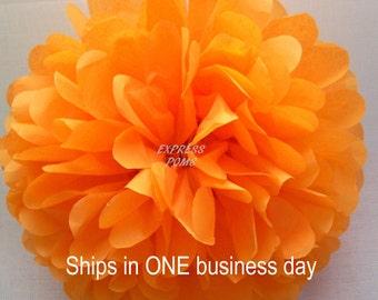 "Tangerine Tissue Paper Pom Pom Medium 13"" - 1 Piece - Ships within ONE Business Day"