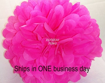 Hot Pink Tissue Paper Pom Pom - 1 Medium Pom - 1 Piece - Ships within ONE Business Day