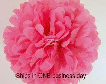 Raspberry Tissue Paper Pom Pom - 1 Medium Pom - 1 Piece - Ships within ONE Business Day