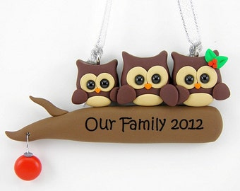 Personalize Owl Family Christmas Ornament Polymer Clay
