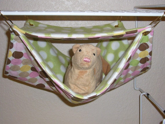 "Large Double Bunk Hammock ""Neapoliton Print with Polka Dot on Green Fleece Lining"" Rat, Ferret, Sugar Glider"