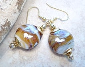 Swirled Glass Earrings Gold