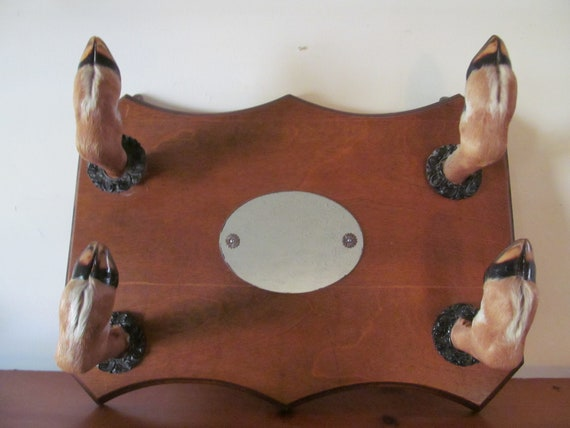 Vintage Hardwood Mirror/Gun Rack Coat Rack with Four Deer Hoofs