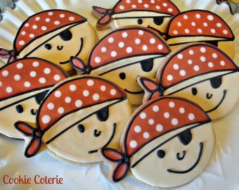 Pirate Decorated Cookies Birthday Party Cookie Favors One Dozen