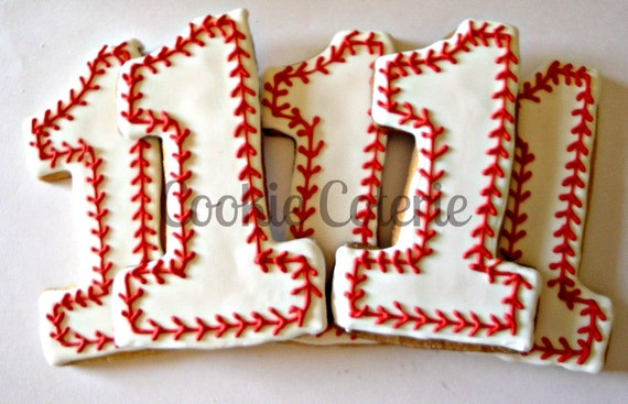 Baseball Cookies Large Number One Birthday Cookies Decorated Sugar Cookies Party Favors