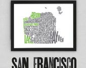 San Francisco Fontmap - Limited edition typographic map digital print, 420x297mm