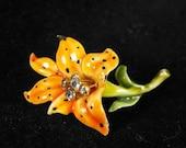 RESERVED For Soledad: HAR Enamelled Tiger Lily Figural Floral Signed On Sale 30.00