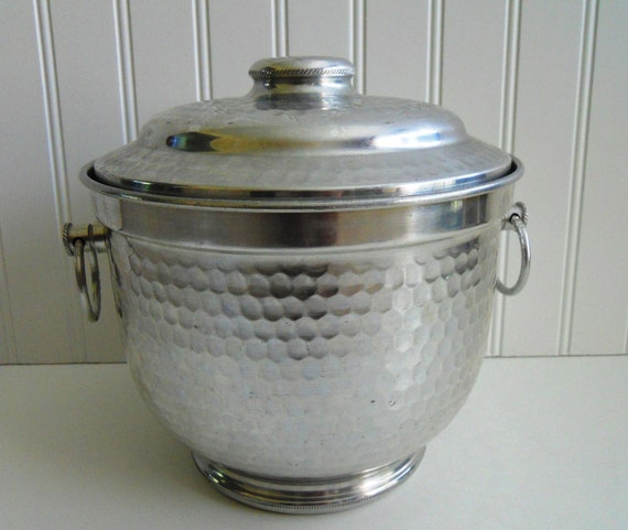 Cocktails Anyone. Italian Hammered Ice Bucket and Tongs.  1960's