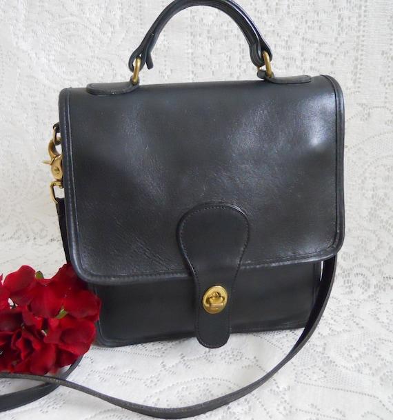 Vintage Black Station Coach Shoulder Bag.