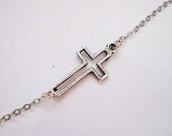 Sideways Cross Necklace, Silver Cross Necklace, Off side Sideways Cross Charm, Off centered Silver Sideways Cross Necklace, Kelly Ripa