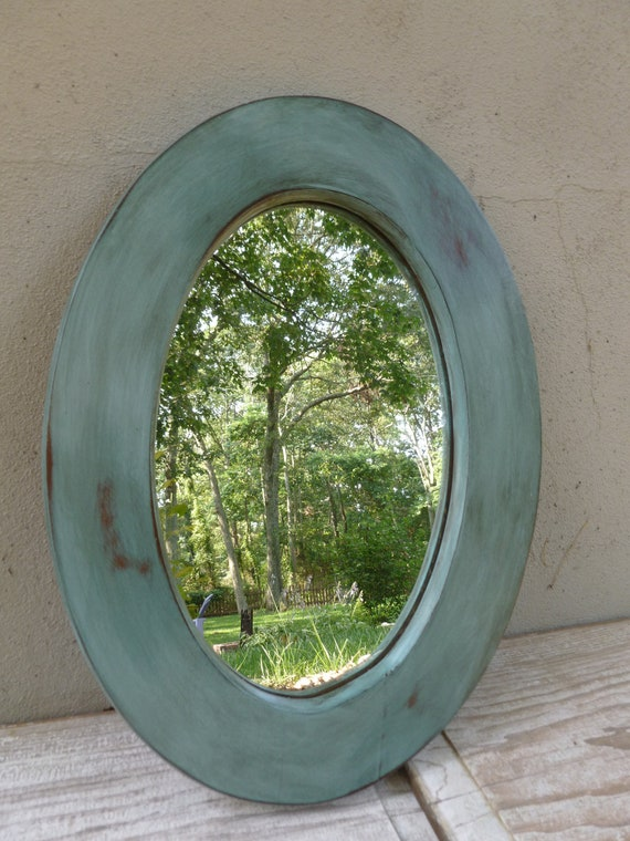 Oval Mirror in Distressed Turquoise