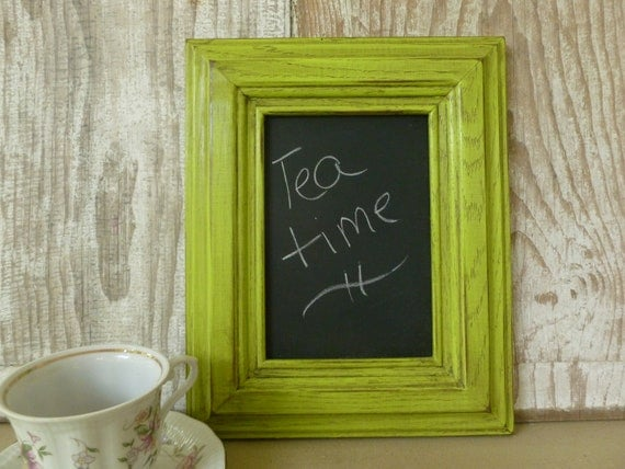 Small Chartreuse Framed Chalkboard