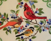 Embroidered Birds Pillow, Cardinals and Finch Pillow