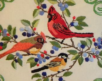 Pillow Birds Cardinals Finch Throw Pillow, Decorative Birds Pillow, Hand Embroidered Bird Pillow