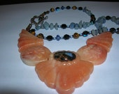 CUSTOM ORDER For JUDY With Wings & Flowers Aventurine Beads Set With Petrified Wood Opal