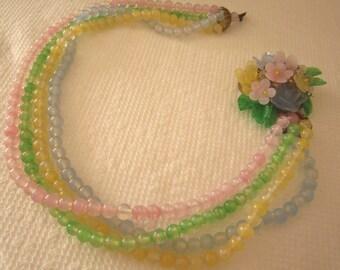 Vintage multistrand pastel glass bead necklace ornate clasp. wedding jewelry. wedding necklace.