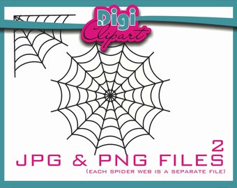 Spider Web Halloween Clip Art (W1 Thick) - INSTANT DOWNLOAD
