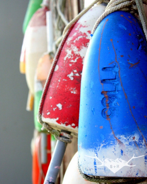 Buoy, Oh Buoy : 8x10 photography print SALE- tilghman island chesapeake bay maryland crab pot colors blue red